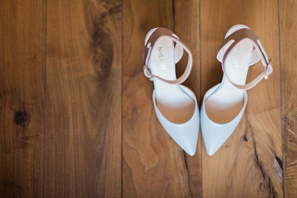 Wedding shoes of bride