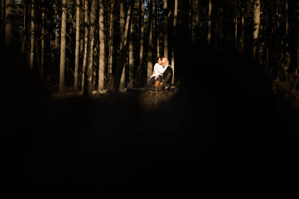 engaged couple sit in the wood in Banff National Park during a warm summer evening photographed by Banff engagement photographer