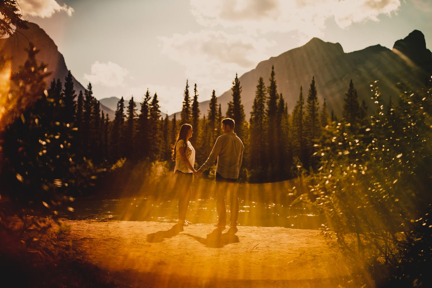 A couple engagement shoot in Canmore Alberta