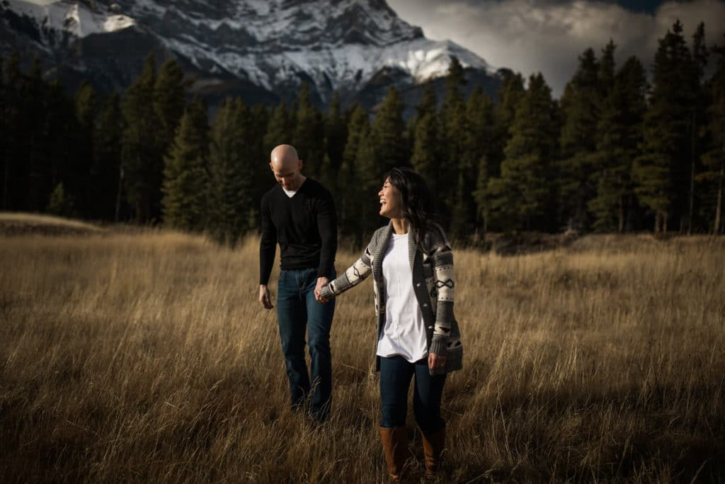 Engagement photography shoot in Banff with Cascade mountain in the background