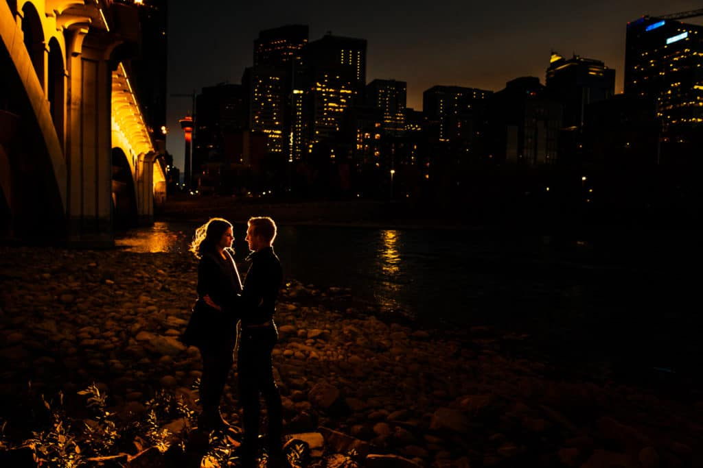 Downtown Calgary engagement nighttime engagement shoot