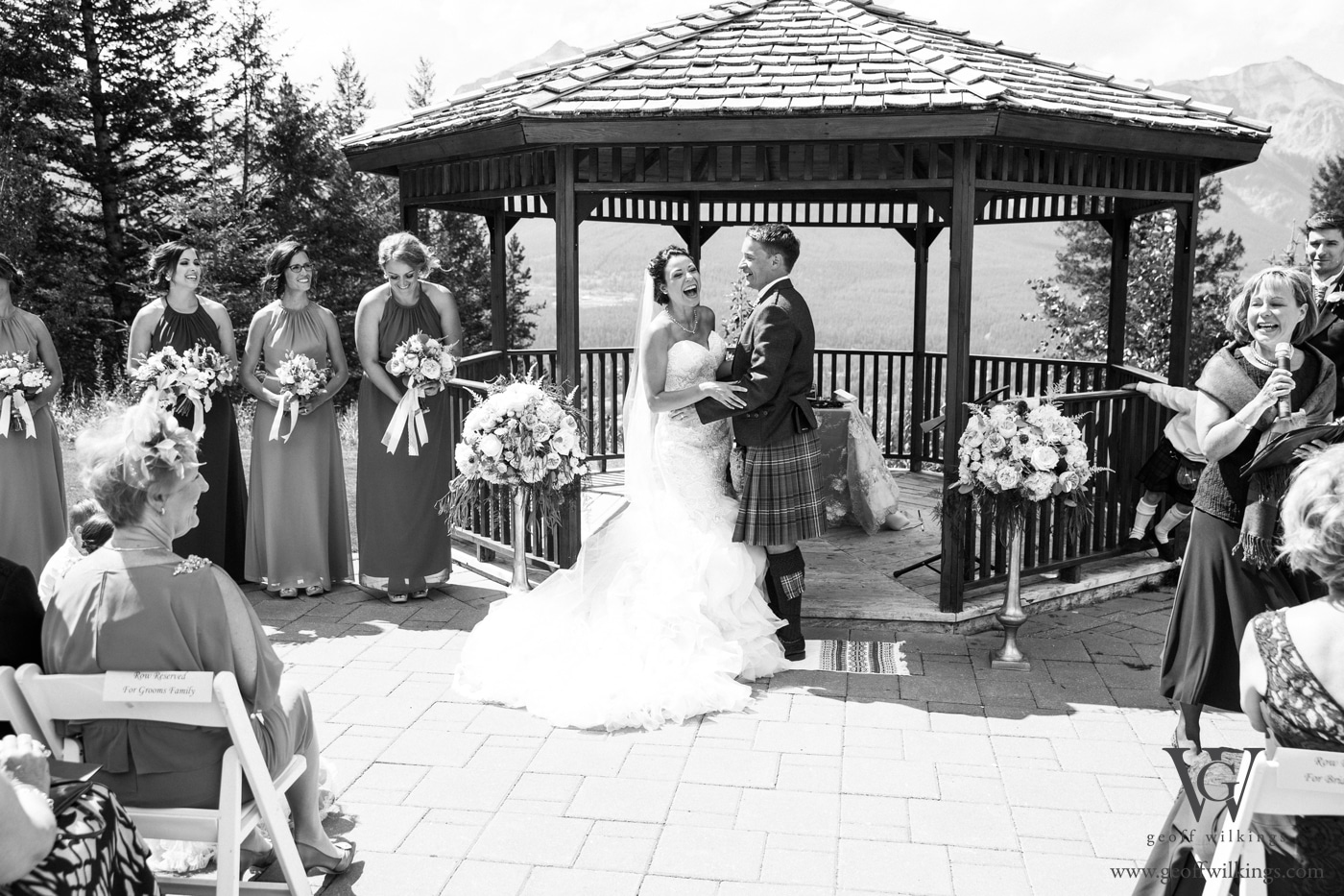 Silvertip wedding ceremony with a bride and groom laughing