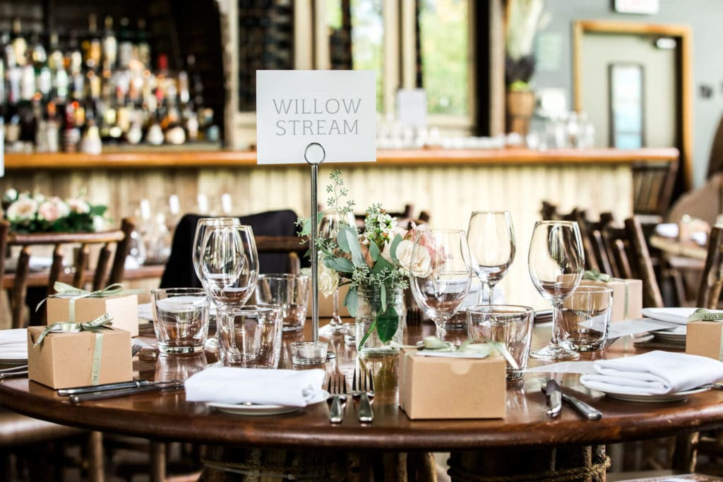 A wedding venue reception table layout at the River Cafe
