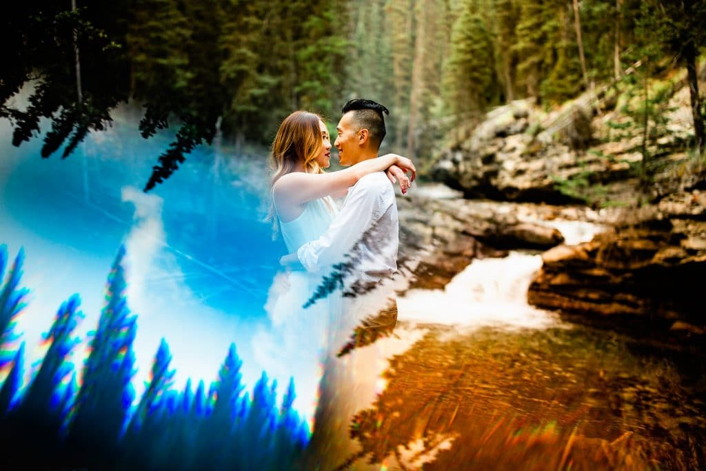 Engagement photography shoot in Johnston Canyon photographed by Calgary engagement photographer Geoff Wilkings Photography