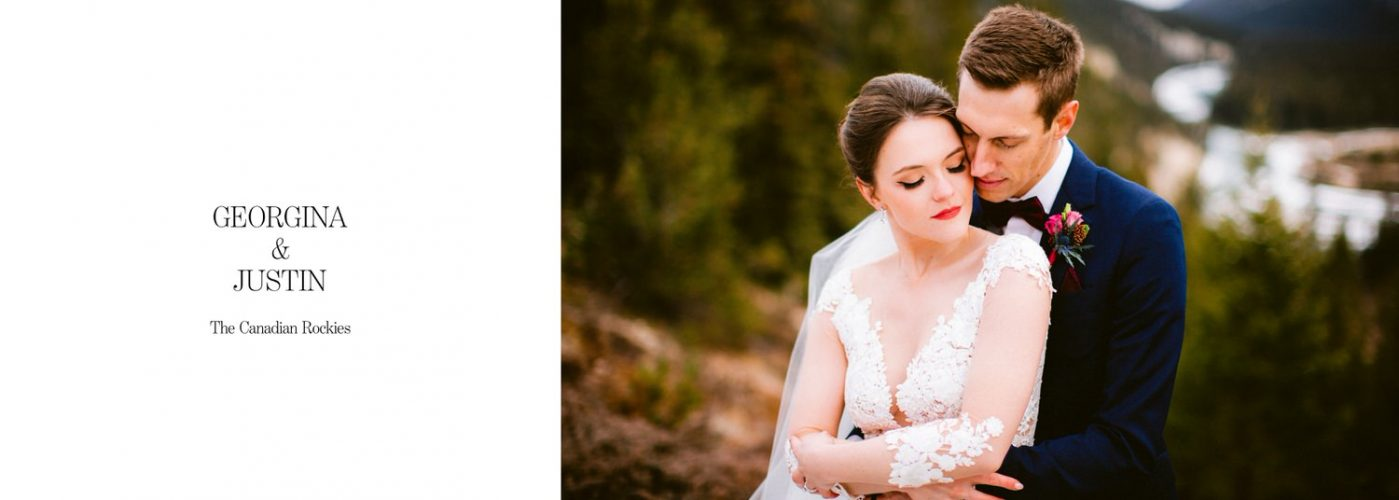 Banff wedding photographer wedding album layout of bride and groom in Banff National Park