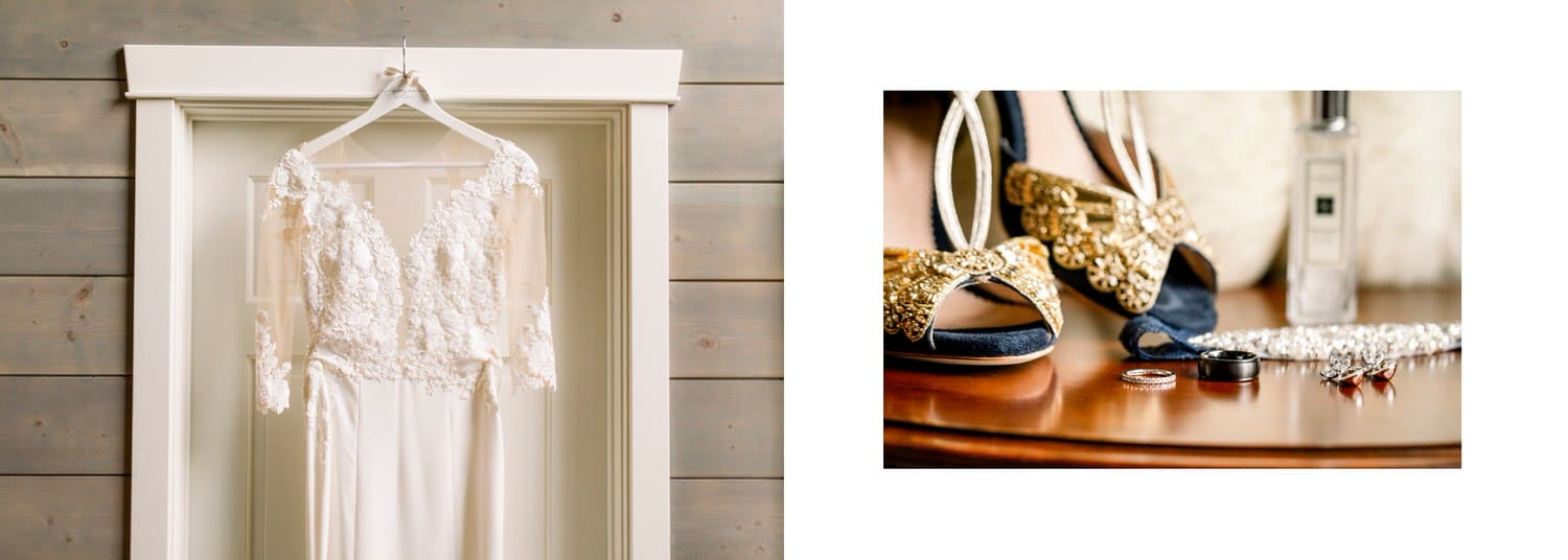 A bride wedding dress hanging with shoes and jewelry displayed within an album