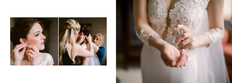 Bride spraying perfume on herself within a Banff wedding album layout