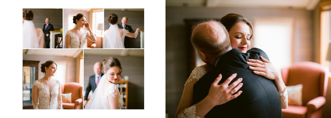 A first look of the bride with her dad seen on her wedding day shown within a wedding album by Banff wedding photographer