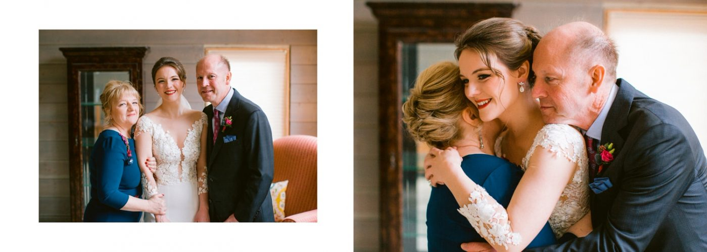 Portrait of bride and parents after the bride in Banff gets ready in her Banff home