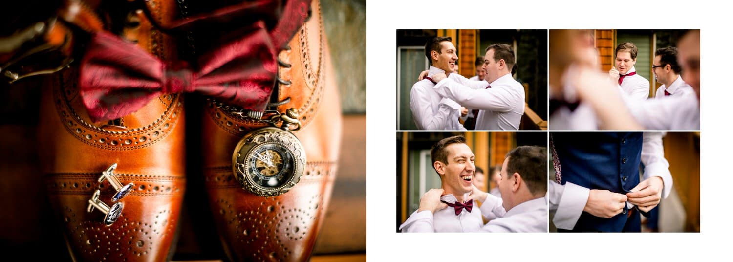 groom getting ready album layout in Banff National Park with the bridal party