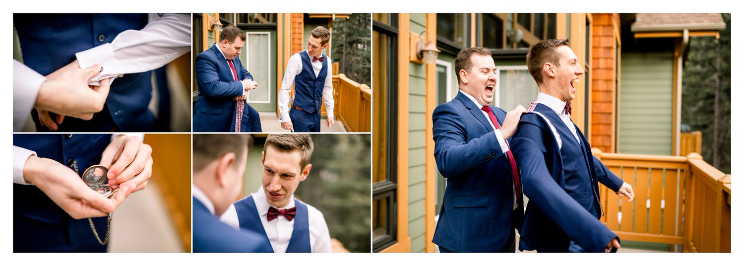 Jacket being put on as the groom gets ready on his wedding day shown within a wedding album