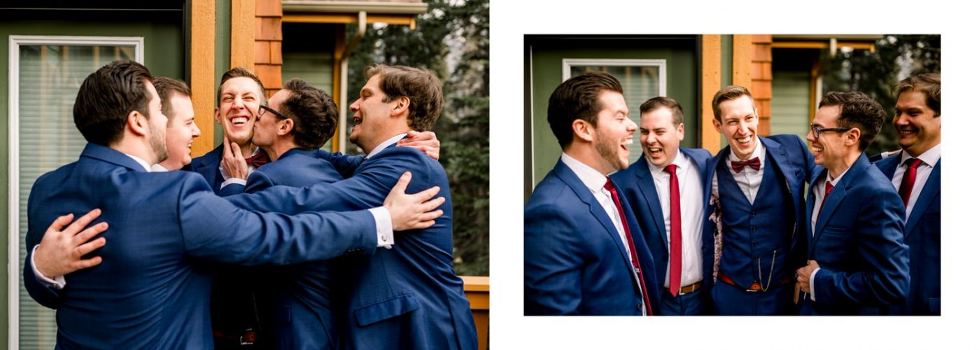 Bridal party of the groom hugging and laughing on the groom wedding day in Banff shown within a wedding album