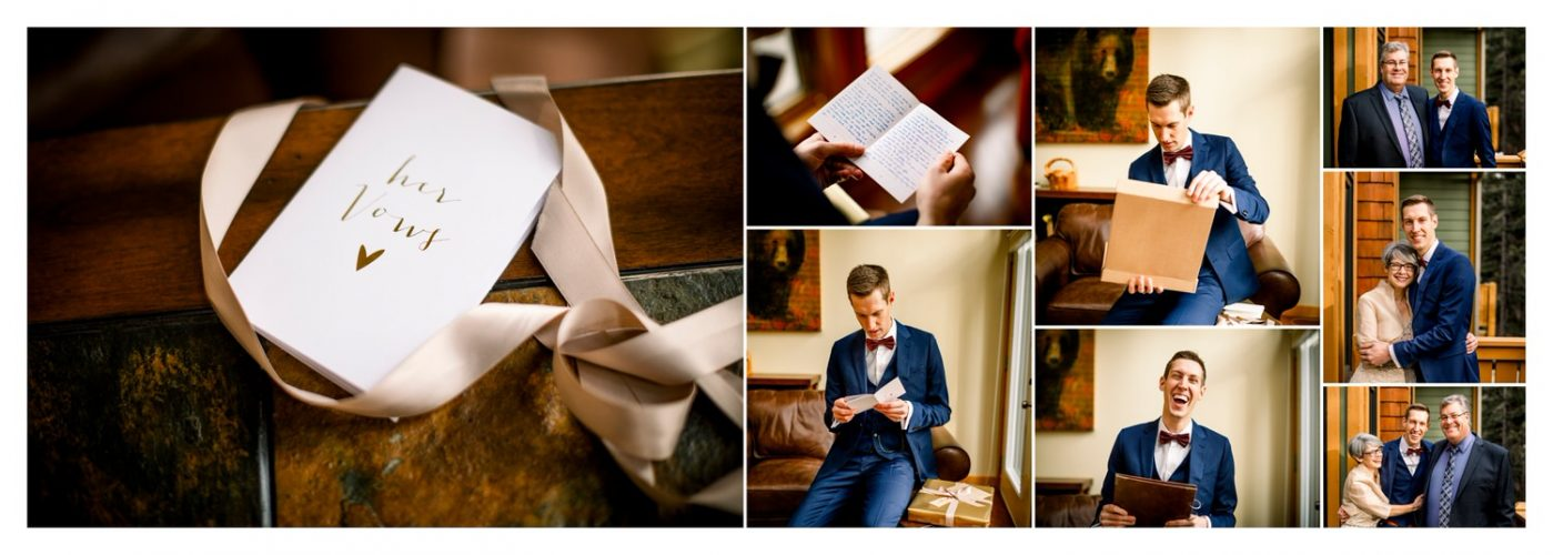 Groom reading his vows on his wedding day in his home in Banff shown within a wedding day album layout