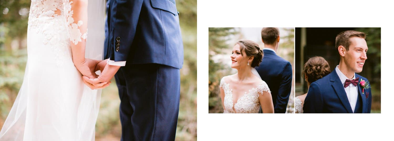 First no look known also as first look of a bride and groom holding each other shown within a wedding album