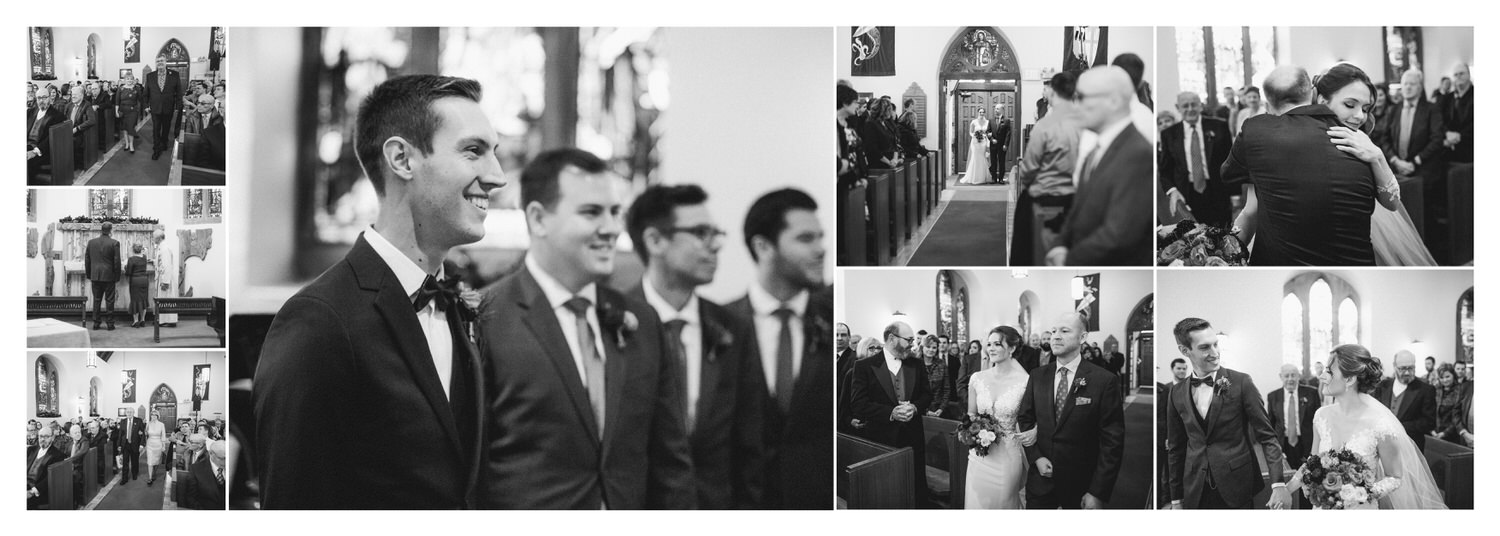 Groom and Bride walking down a church aisle as they prepare to get married shown within a wedding album layout