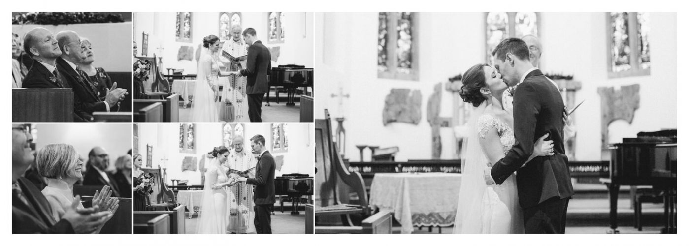 Bride and Groom kissing in a church during their ceremony church wedding shown as an album layout wedding photographs