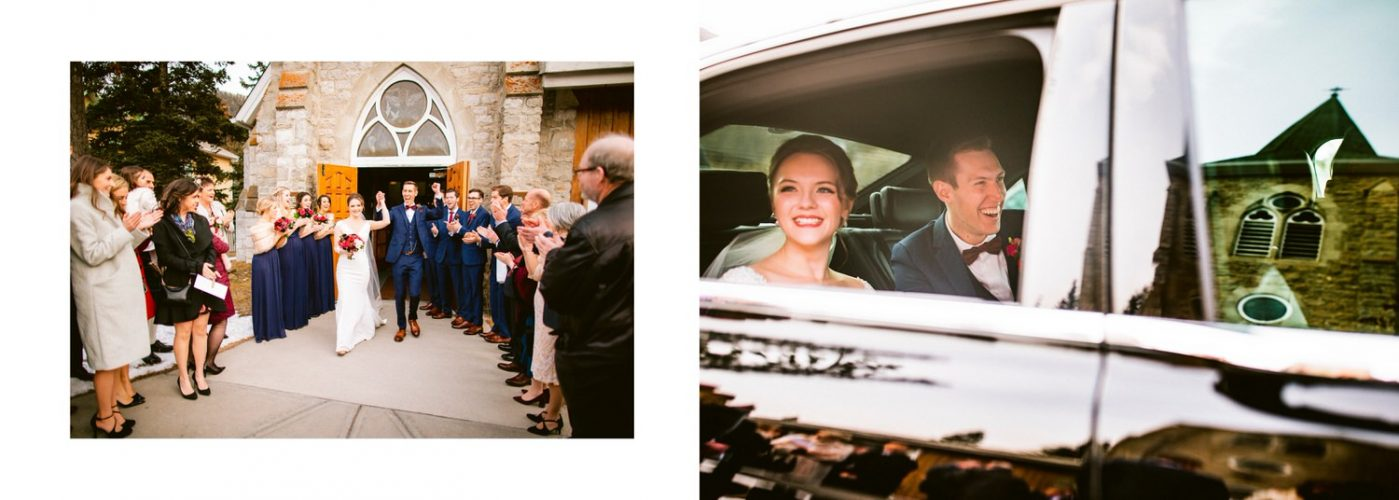 Banff wedding church exit of the bride and groom as they leave the ceremony in their private limo shown within a wedding album