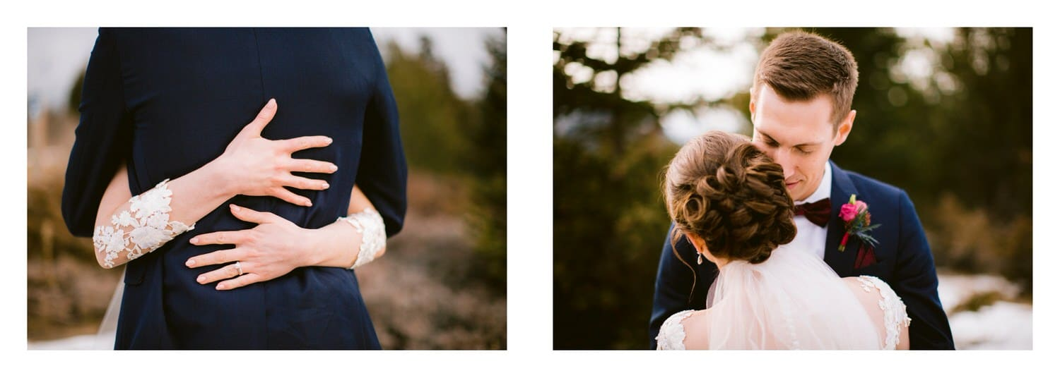 Bride and groom hugging in Banff National Park after their ceremony displayed within a wedding album