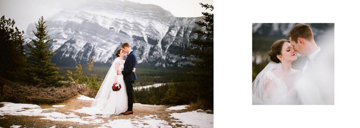Mountain Rundle in the background in Banff National Park with the bride and groom holding each other displayed within a wedding album