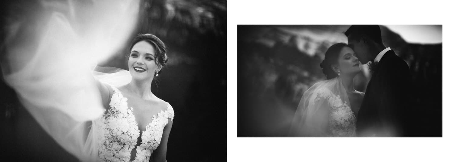 Bride in Banff holding her veil with Mount Rundle in the background shown as a wedding album layout
