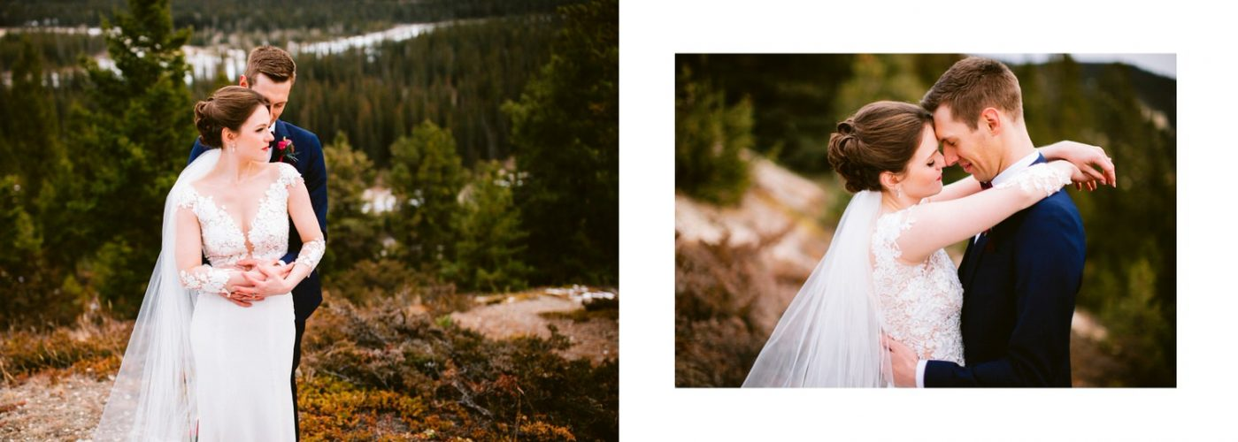 A photograph of a groom holding his bride in Banff National Park shown as a wedding album layout