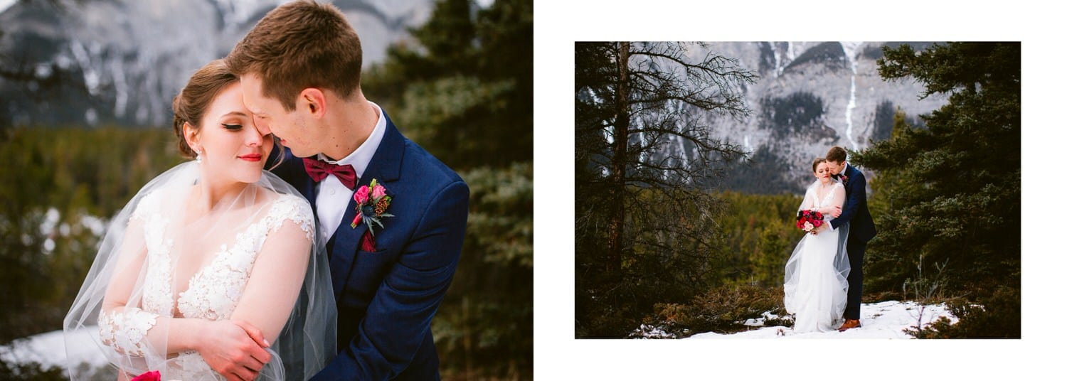 Cascade Mountain wedding photograph with bride and groom in front of the waterfall shown as a Banff wedding album layout