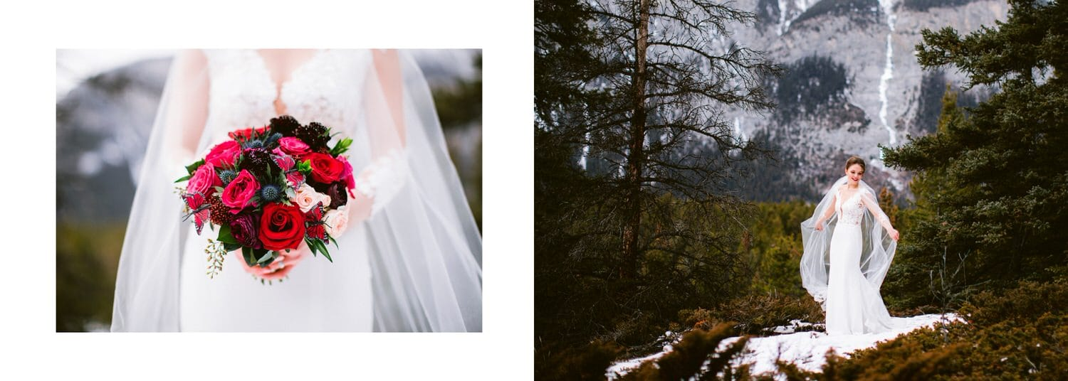 Bride holding wedding flowers by Cascade Mountain in Banff National Park shown within a wedding album layout