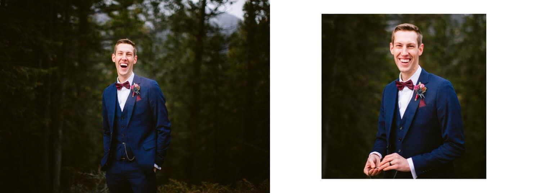 Groom wedding portrait in Banff National Park shown within a wedding album layout