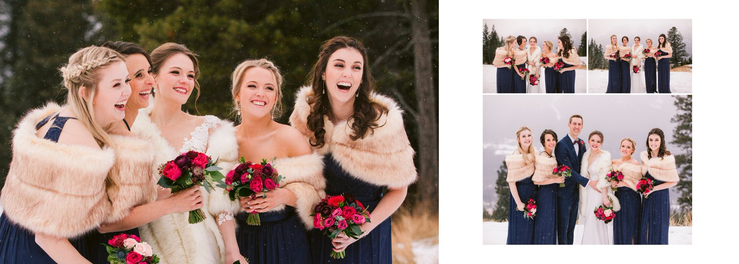 Bridal party laughing with bride at Silvertip Resort in Canmore during a wedding shown within a wedding day album layout