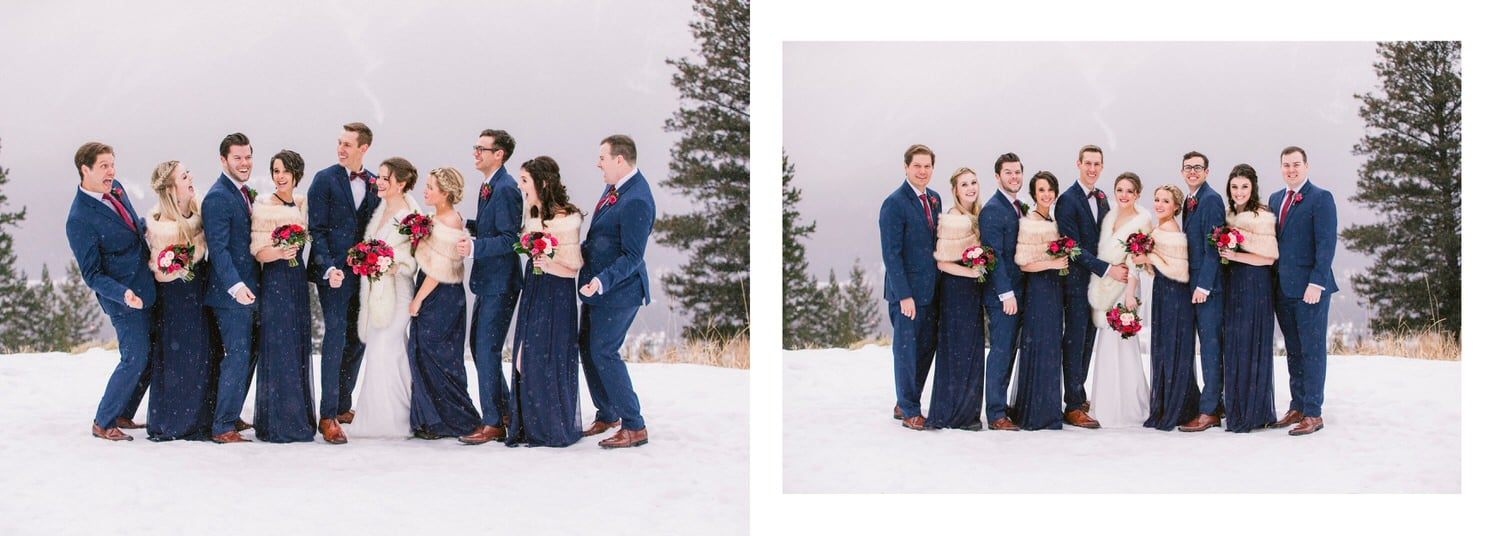 Portrait of bridal party laughing at Silvertip Canmore resort within an album layout