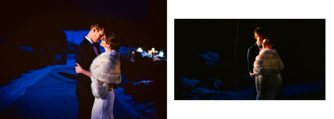 Silvertip Resort groom and bride photo during the winter as they hold each other lit by a street light shown within an album layout