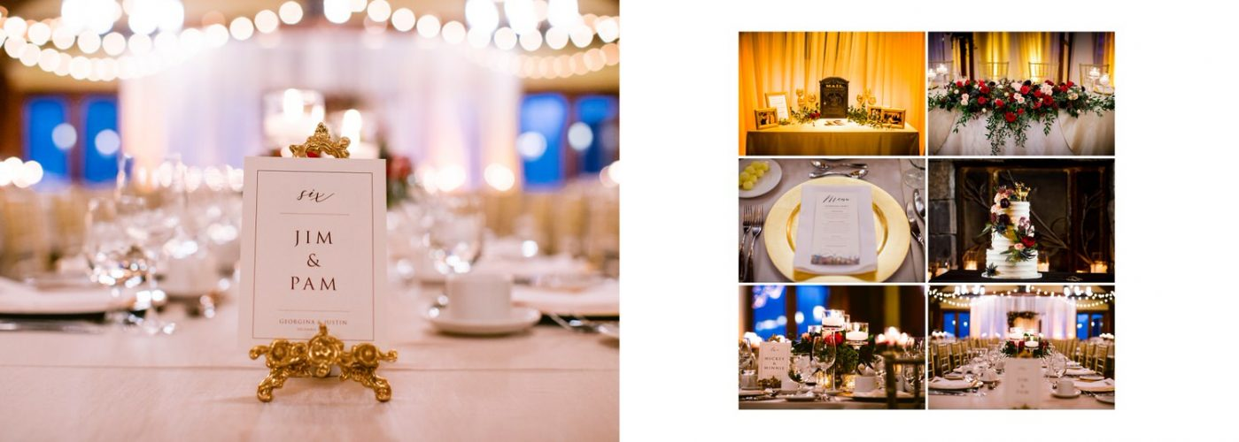 Wedding day reception detail photos at Silvertip Resort in Canmore showing complete within a wedding album layout