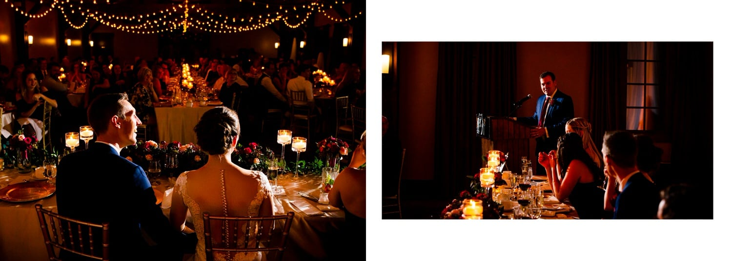 Canmore Silvertip reception speeches with bride and groom listening to best man speeches shown within a wedding album layout