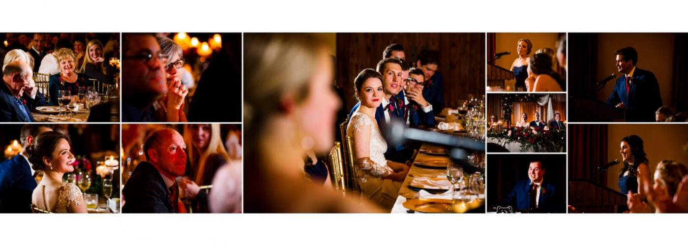 Silvertip resort reception photographs of bridal party speeches shown as a story within a wedding album layout