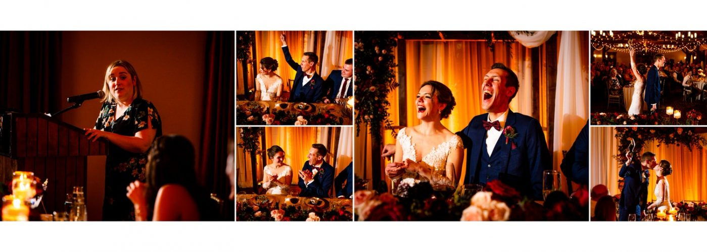 Canmore silvertip reception photos bride and groom laughing during parent speeches displayed as a wedding album layout