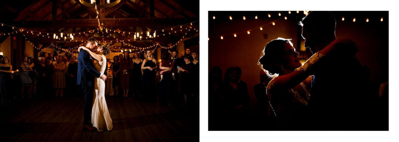 Canmore Silvertip bride and groom first dance evening reception album layout photographs