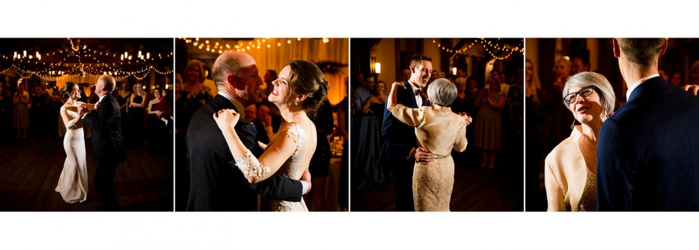Dad daughter mom son dancing Canmore Silvertip Resort album layout wedding photographs