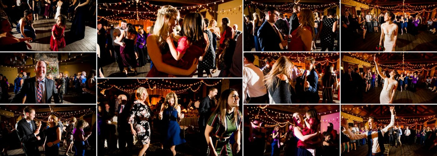 Silvertip Resort Canmore evening party reception wedding photographs within a wedding album layout