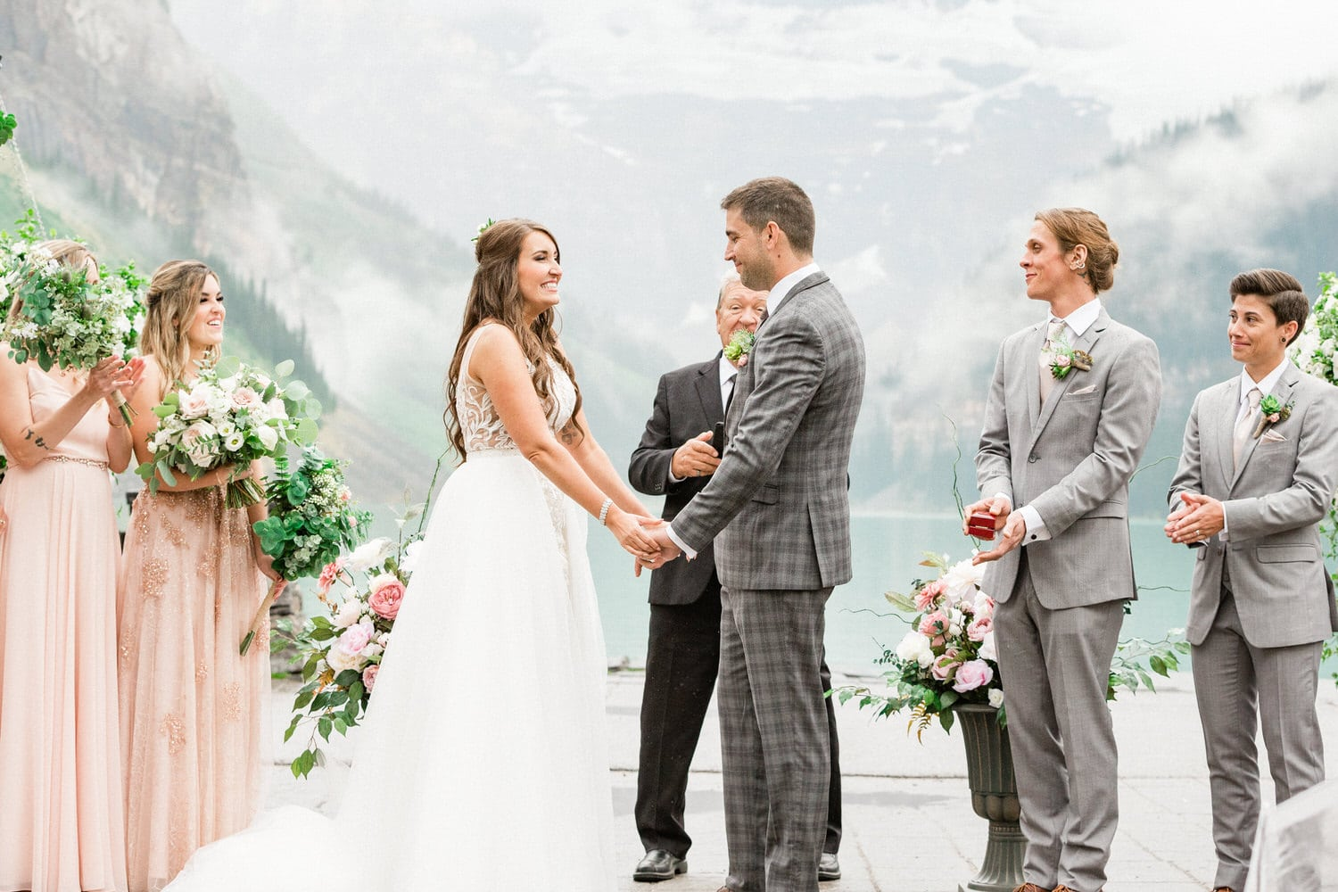 Chateau Lake Louise wedding overlooking the Turquoise Lake