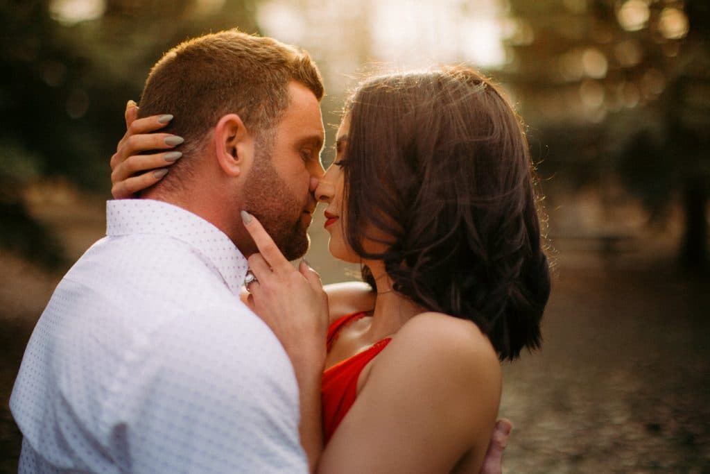 Summer evening park photograph located downtown Calgary engagement photography shoot
