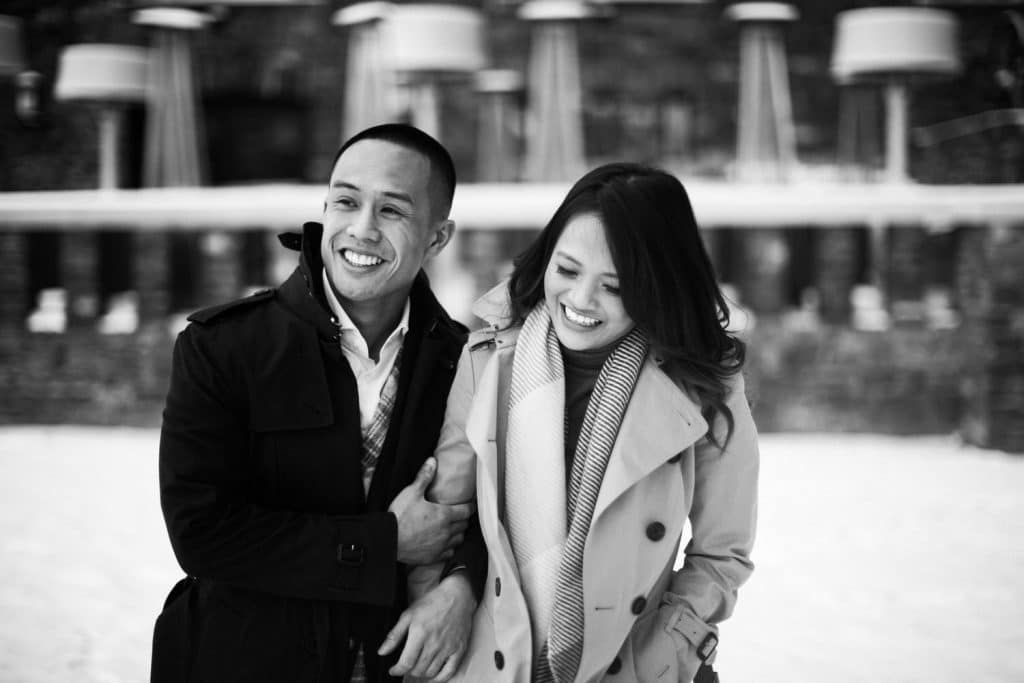 Banff Springs Hotel engagement photograph of an engaged couple celebrating their love for each other in Banff National Park