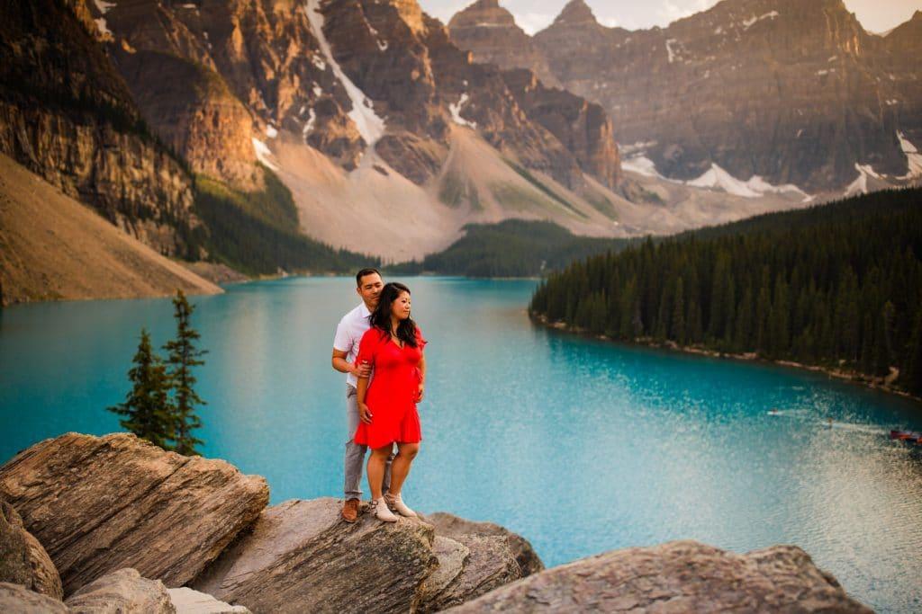 Moraine Lake engagement shoot destination photography