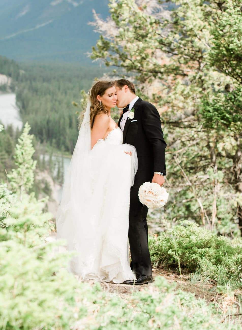 Bride & Groom in the Bow Valley with Mount Rundle at the Banff Springs Hotel