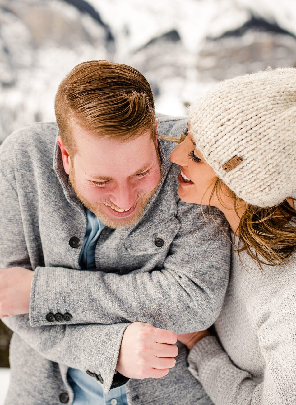 Winter engaged couple in Banff National Park