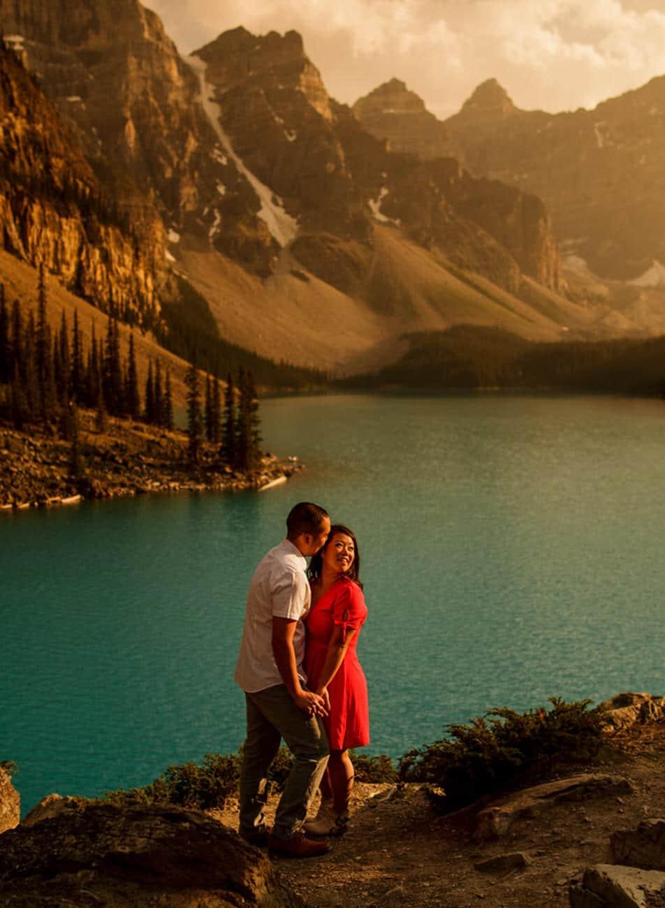 Moraine Lake engagement photos by Lake Louise wedding photographer