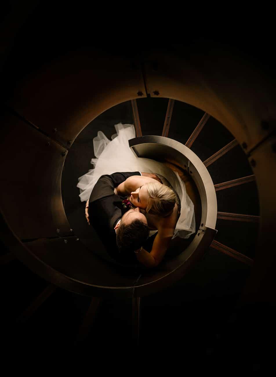 A Bride & Groom in Le Germain Hotel in Calgary wedding portrait photograph