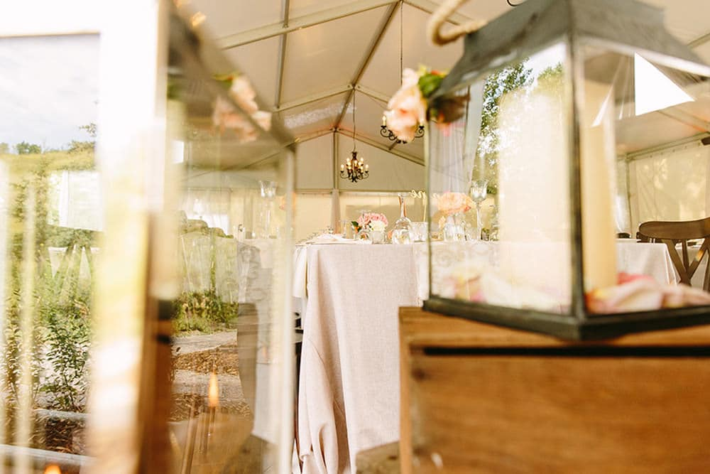 A reception wedding venue at the Meadow Muse Pavilion in Fish Creek