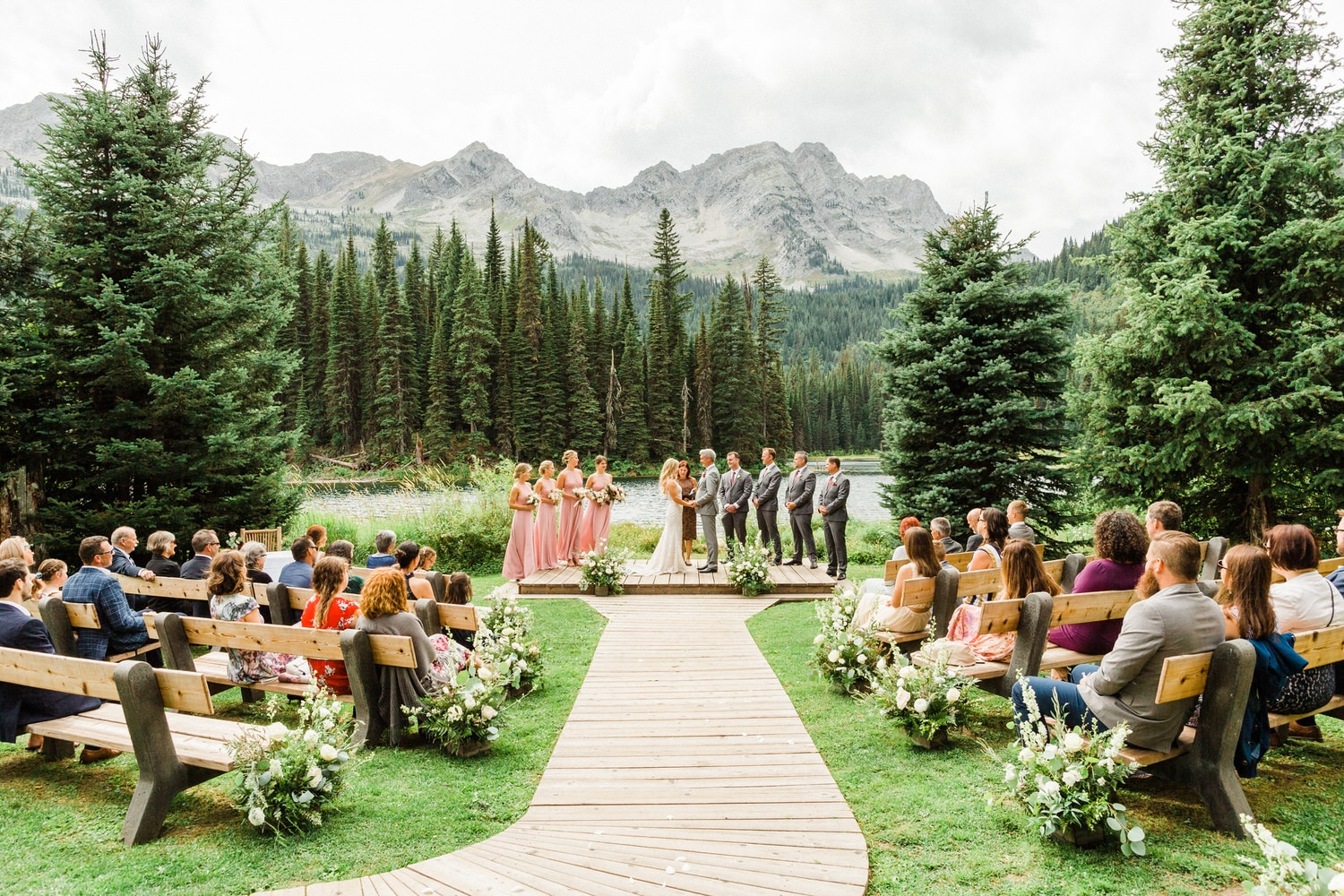 Island Lake Lodge wedding ceremony in British Columbia