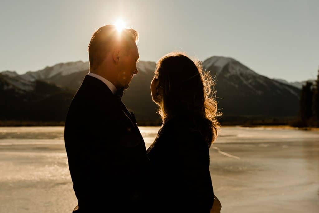 engagement shoot in Banff with Sulphur Mountain in the background