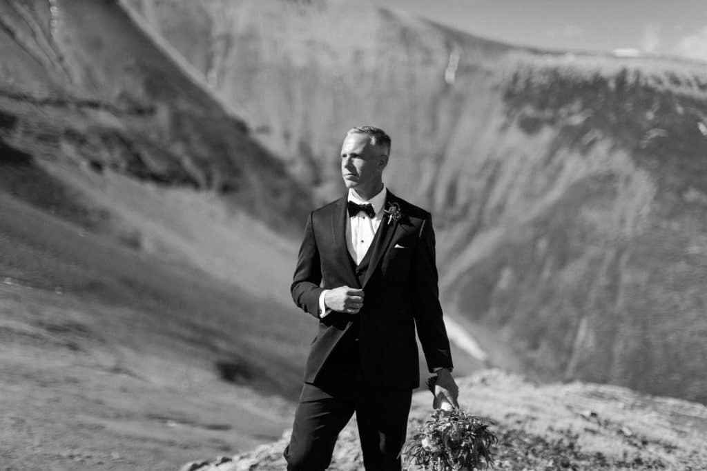 Portrait of a groom during his elopement in Banff National Park